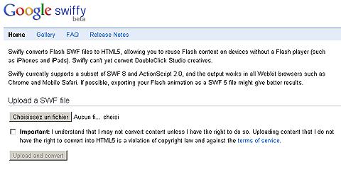 Convertir gratuitement ses SWF en HTML 5